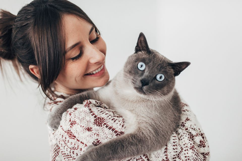 Cat looking at the camera while being held by a woman
