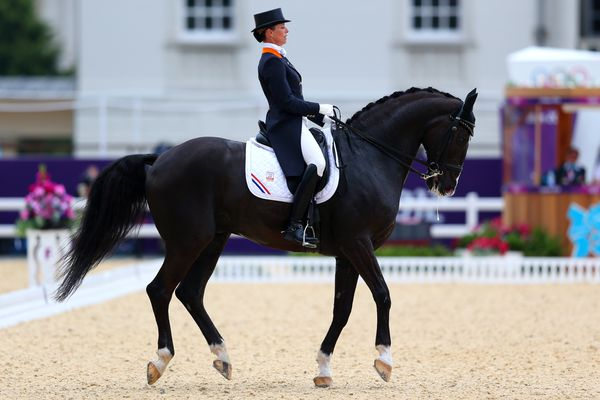 Anky Van Grunsven of Netherlands riding Salinero competes in the Team Dressage Grand Prix Special on Day 11 of the London 2012 Olympic Games.
