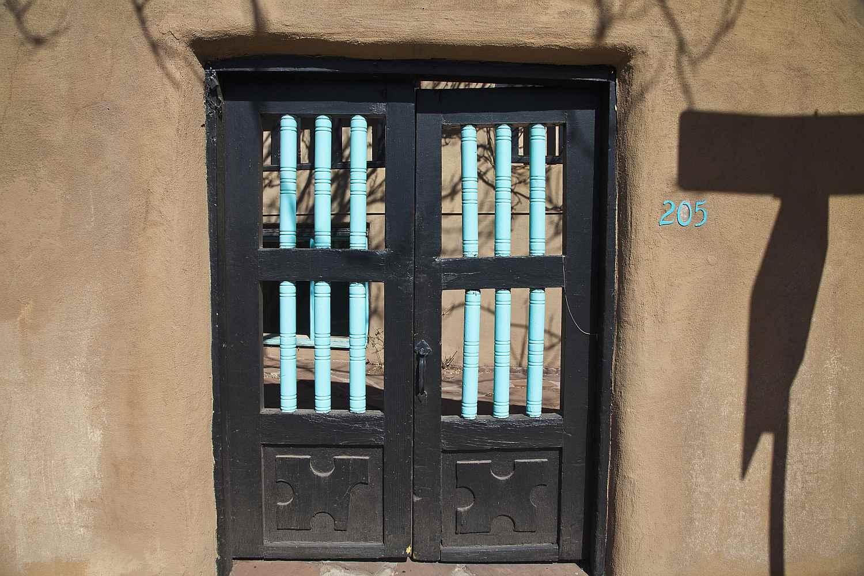 Door in adobe building