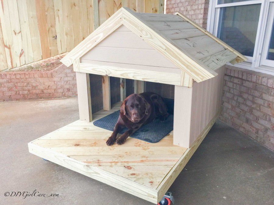 A Dog In Wooden House With Porch Diy Cave
