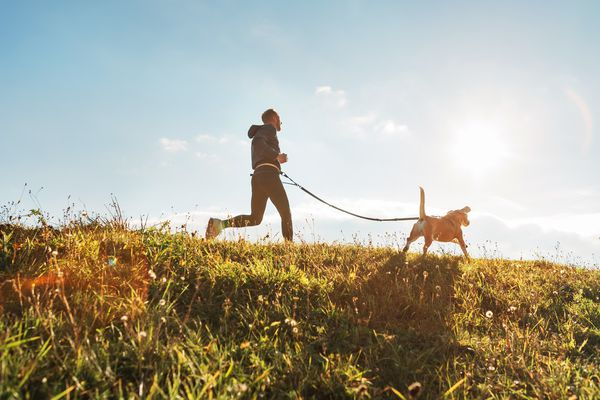 Man doing canicross with his dog outside