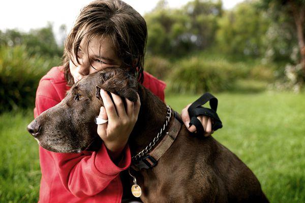 Girl hugging old dog
