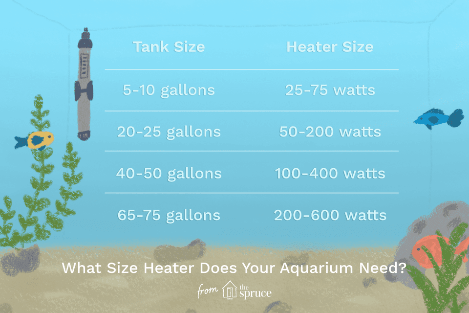 Aquarium heater size