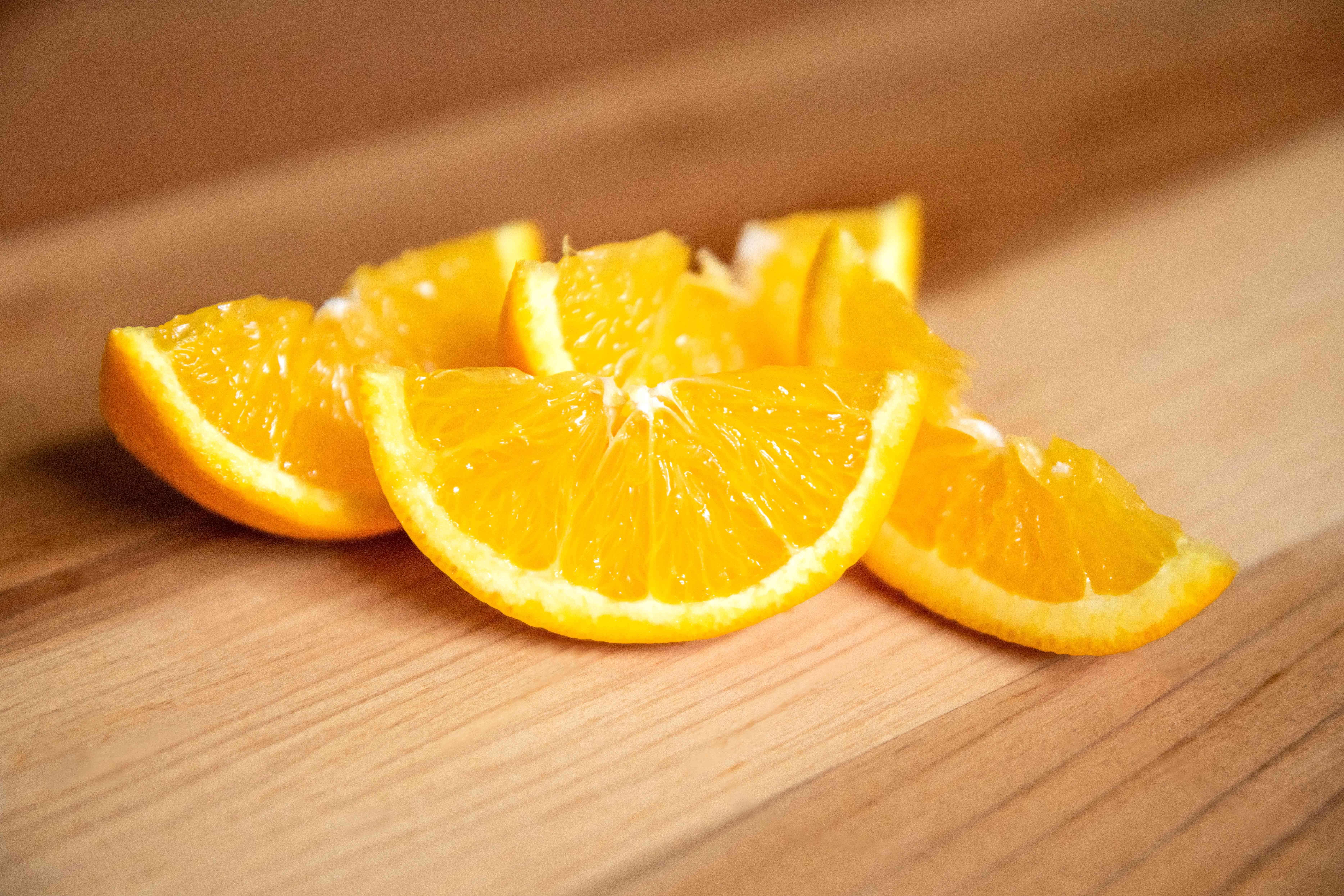 Orange slices closeup