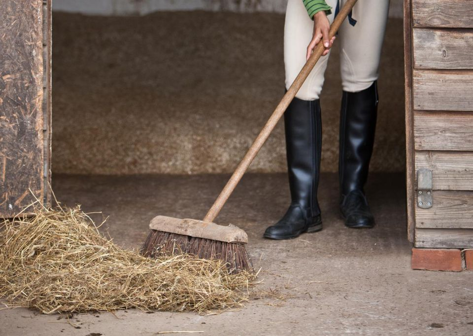 Woman sweeping out horses stable.
