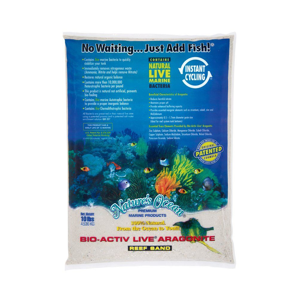 Nature's Ocean No.0 Bio-Activ Live Aragonite Live Sand for Aquarium