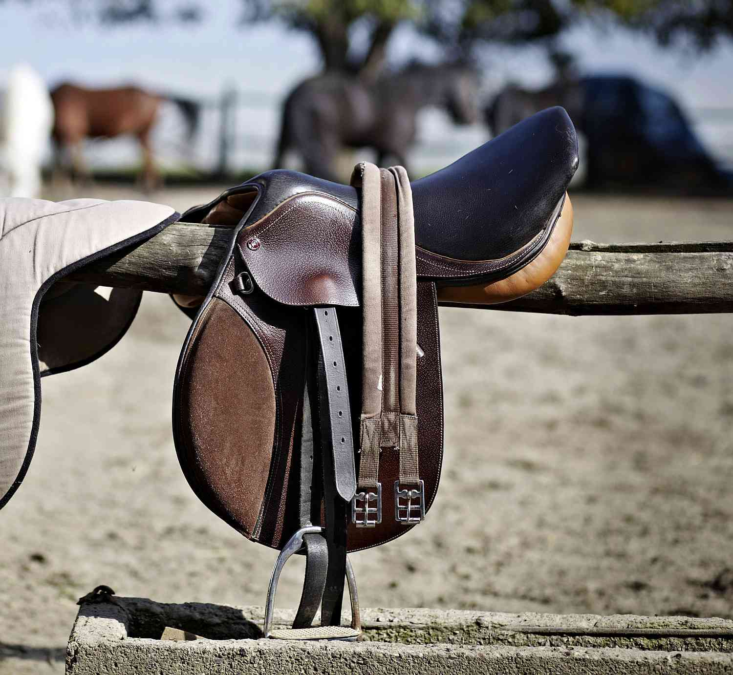 A Saddle With a Synthetic Girth Hanging on a Fence Rail