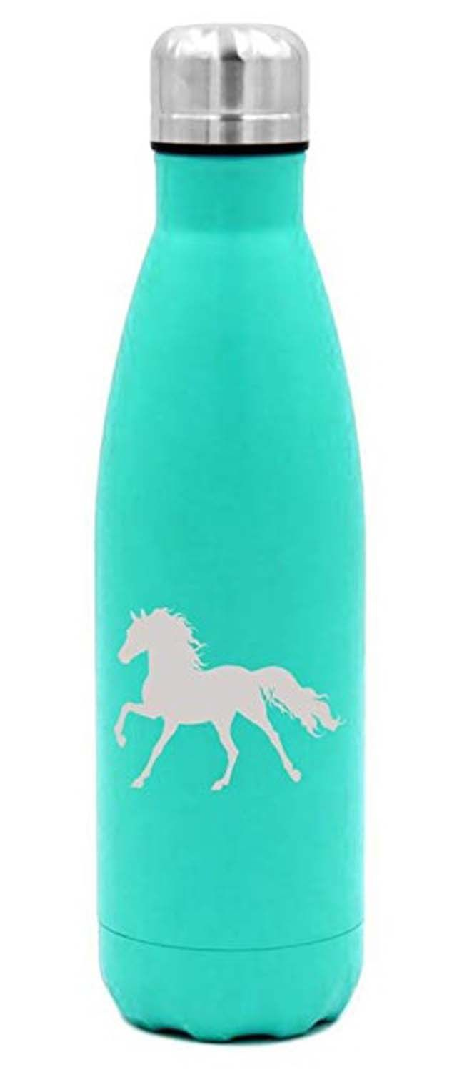 Teal blue horse icon water bottle.