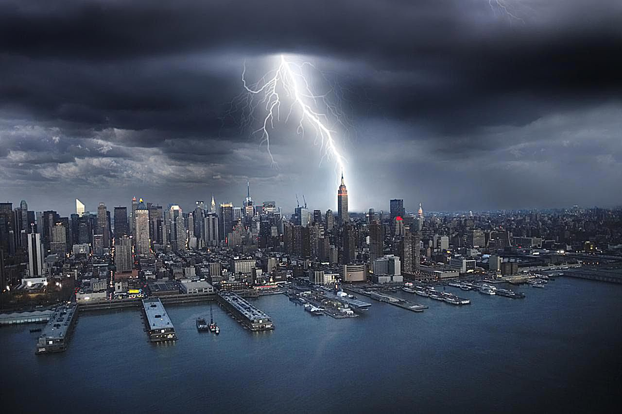 Lightning striking NYC