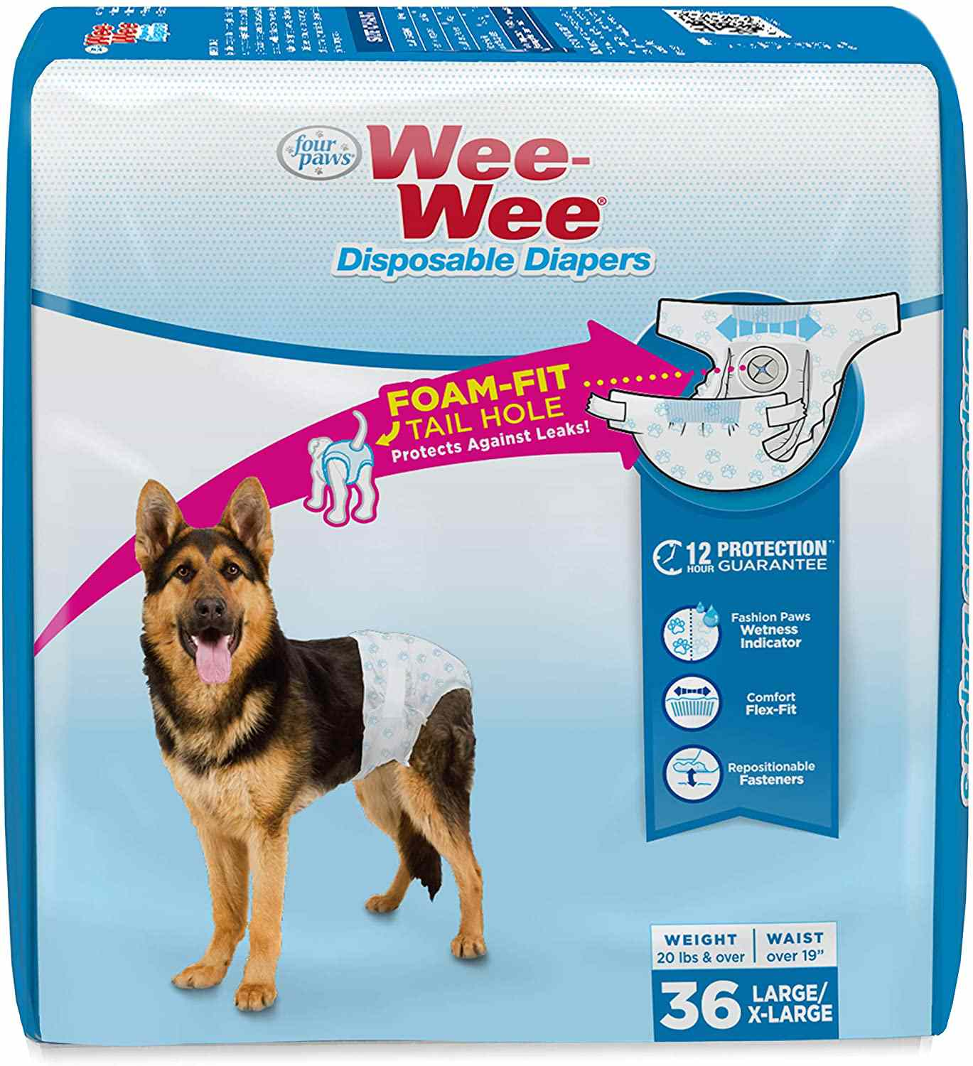 Four Paws Wee-Wee Disposable Dog Diapers L/XL