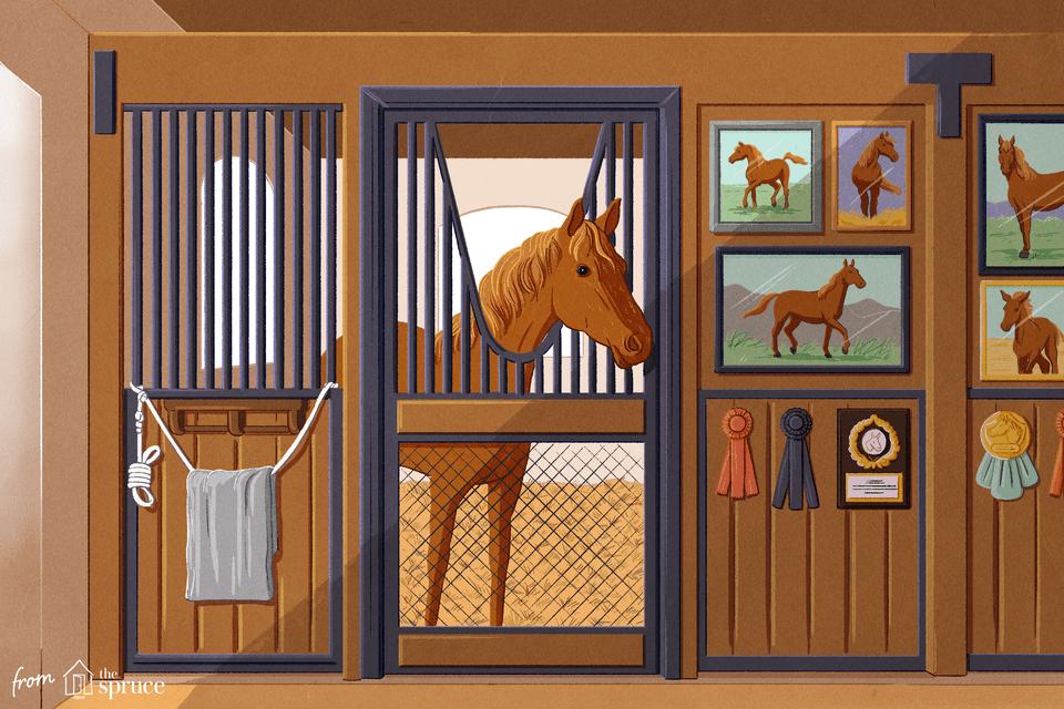 Ilustración de un caballo en un establo