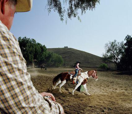 Girl riding horse around barrels.
