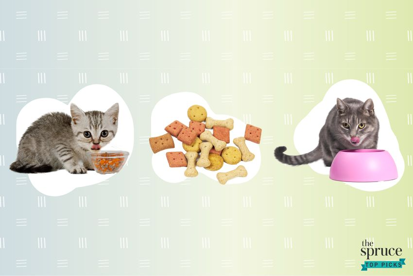 Photo composite of two cats eating out of food bowls and dry kibble.