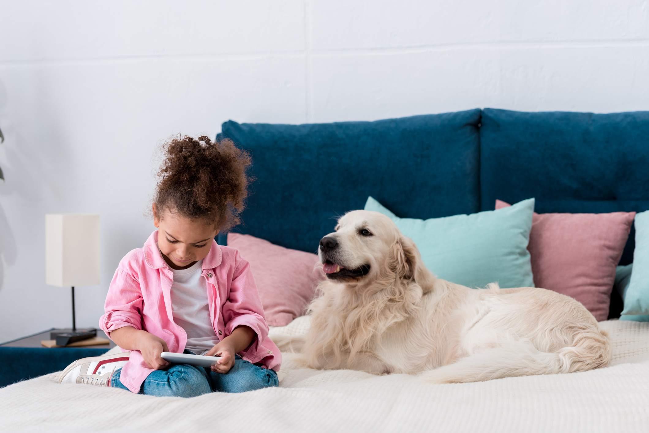 niño afroamericano sonriente sentado en la cama con golden retriever y jugando con el teléfono inteligente