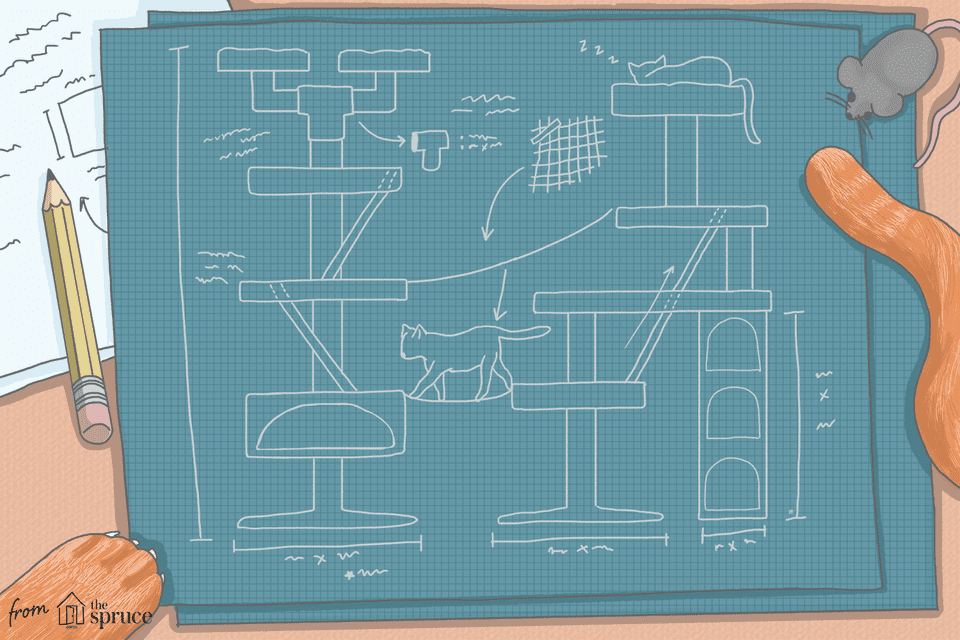 free cat tree plans illustration