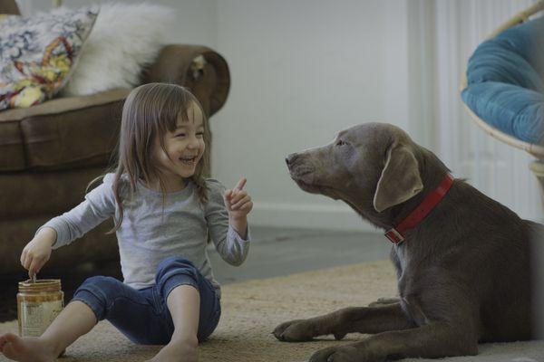 Girl feeding pet dog peanut butter on living room floor