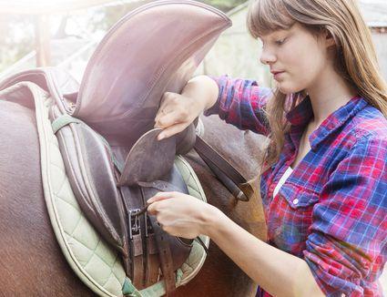 Young woman saddling horse