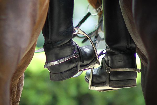 Closeup of horseback riders' boots in stirrups