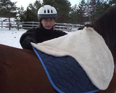 Woman putting on the saddle pad or blanket on horse
