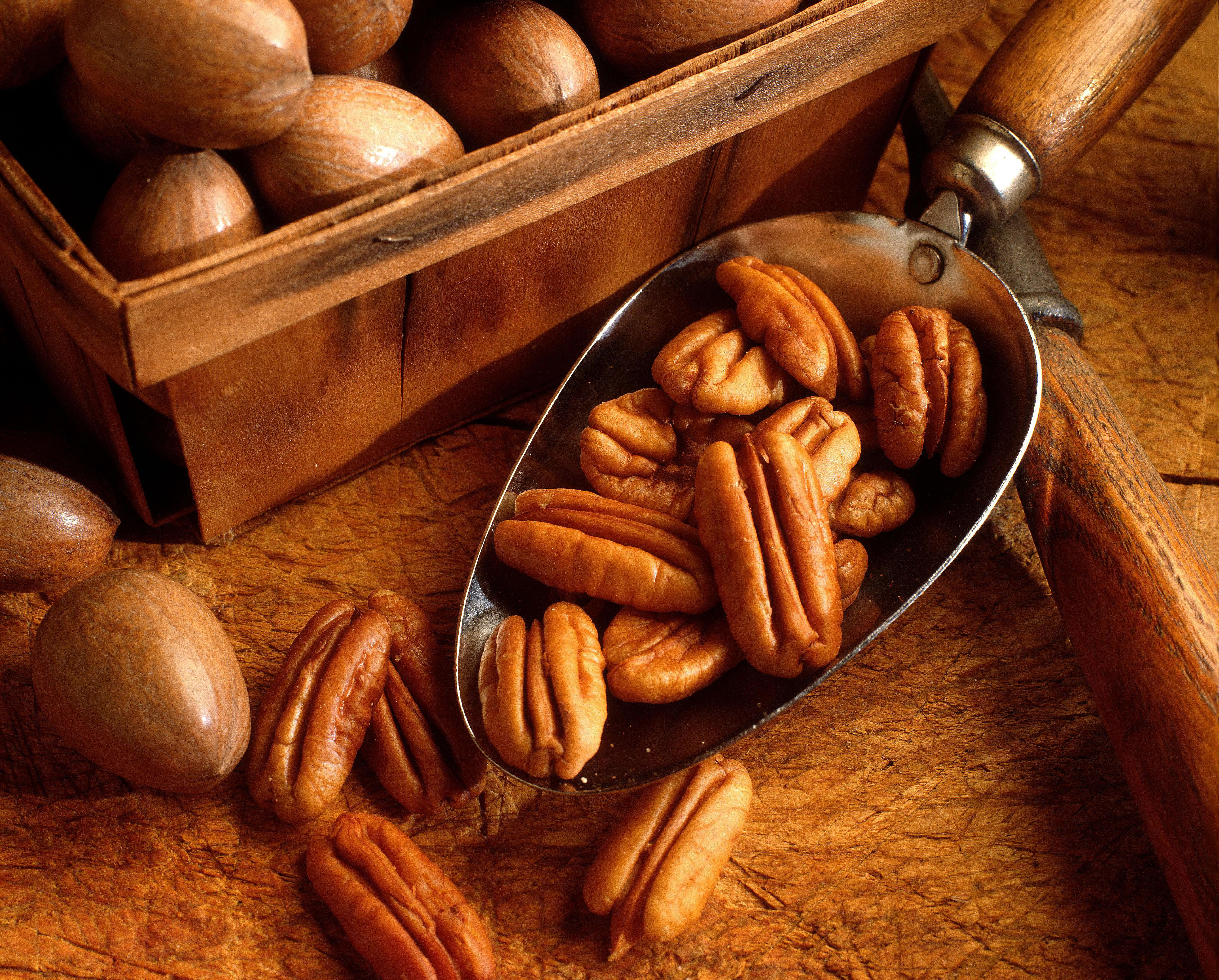 A small serving spoon of pecans