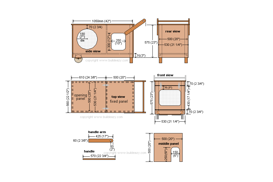 Illustrated plan details for a rabbit hutch.