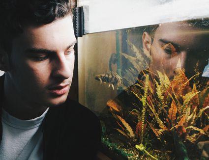 man looking in aquarium