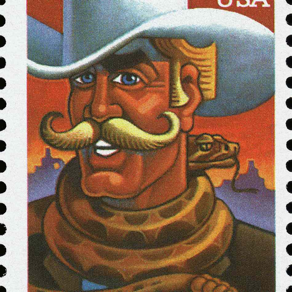View of a 32-cent postage stamp, issued in 1995 in the United States, that features an illustration of the fictional folkloric character of Pecos Bill, 1995.