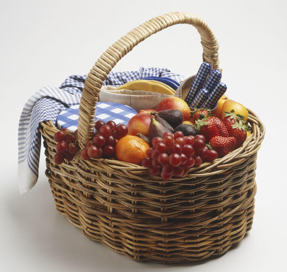 A wicker fruit-basket