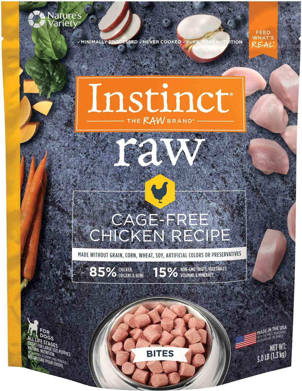 Instinct Frozen Raw Bites Grain-Free Cage-Free Chicken Recipe Dog Food