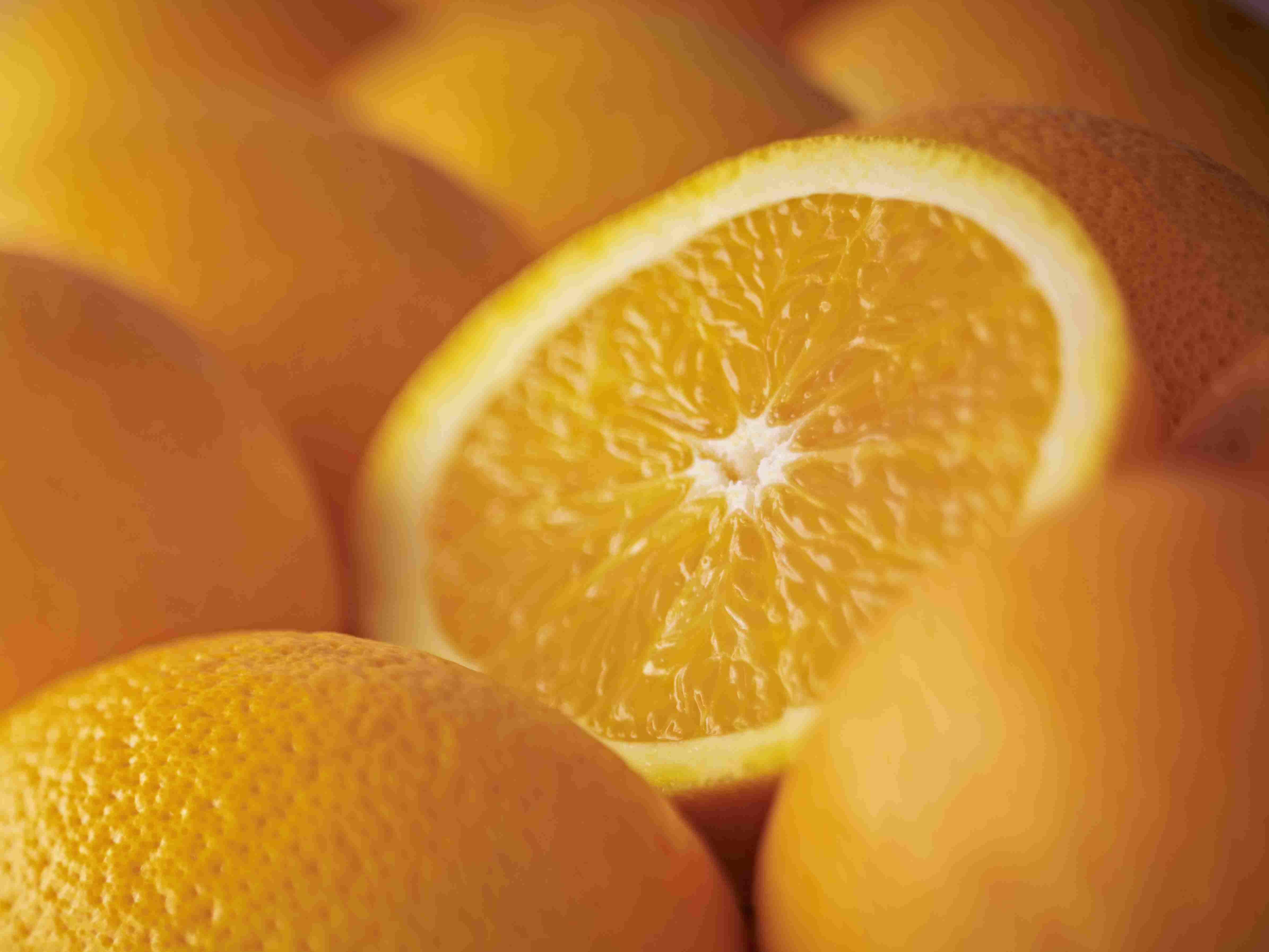 Cierre extremo de naranja Salustiana en rodajas