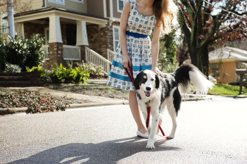 Young woman with dog in street