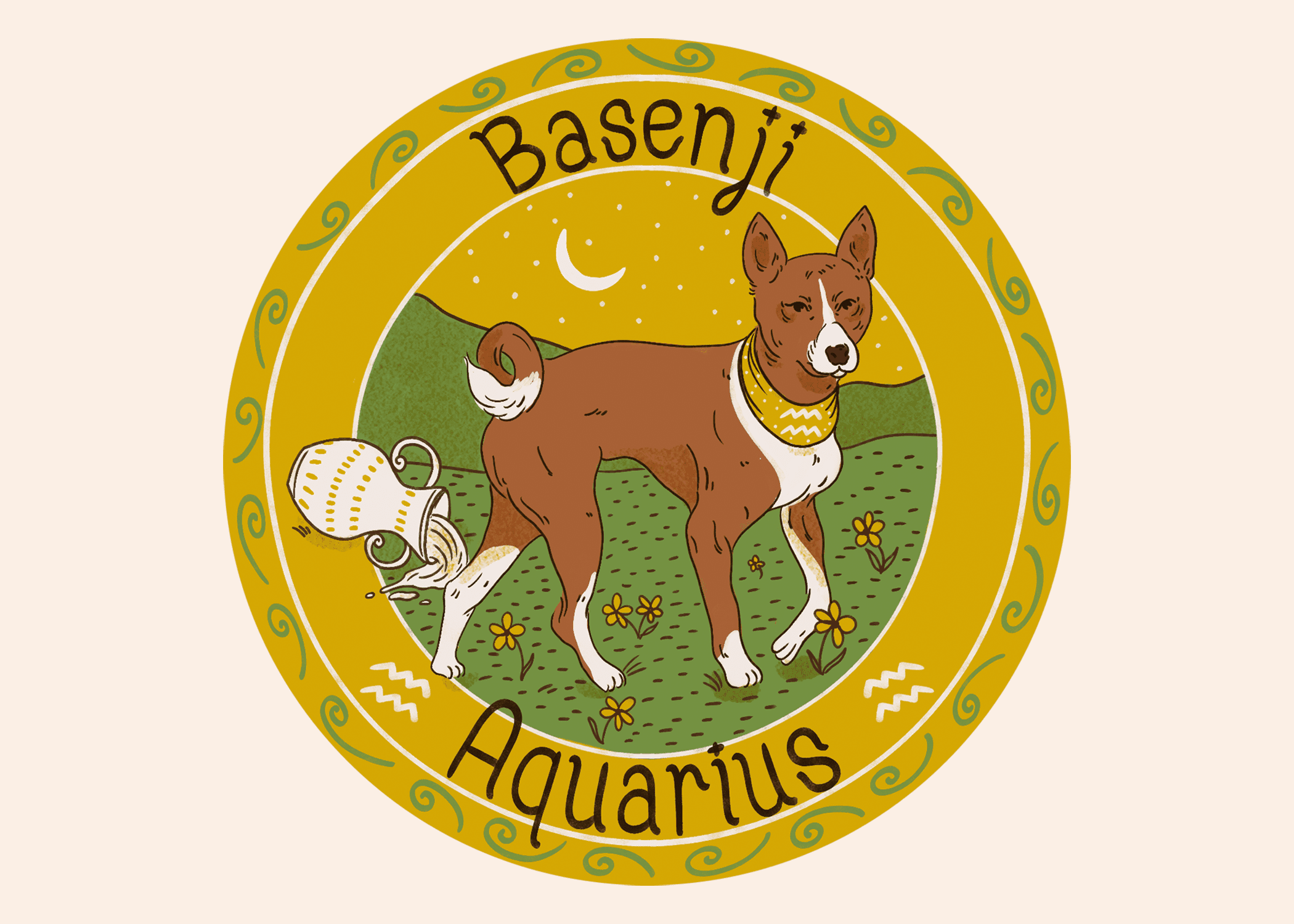 Illustration of a Basenji dog