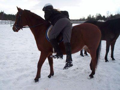 Chica a mitad de camino en un caballo.