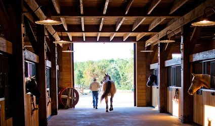 A man leads a horse out of stables.