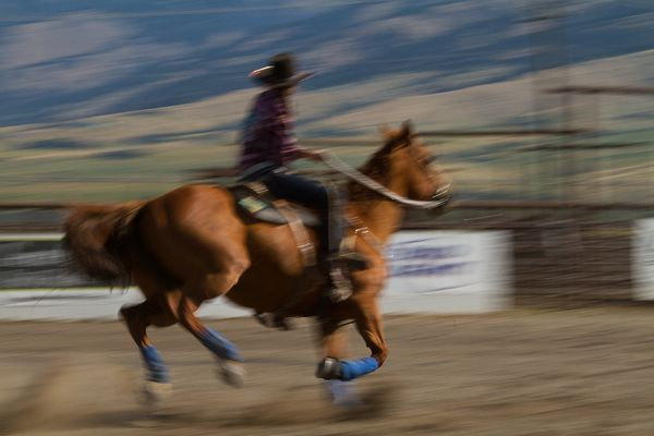 blurred picture of a western rider galloping