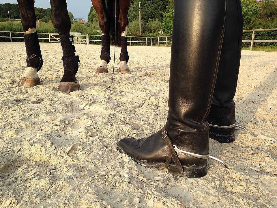 Espuelas en un par de botas inglesas negras.