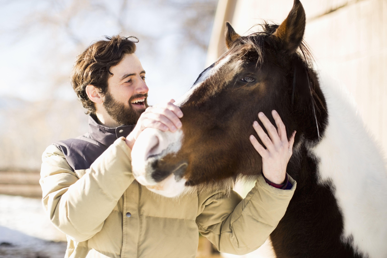 Estados Unidos, Utah, Salt Lake City, Hombre acariciando caballo