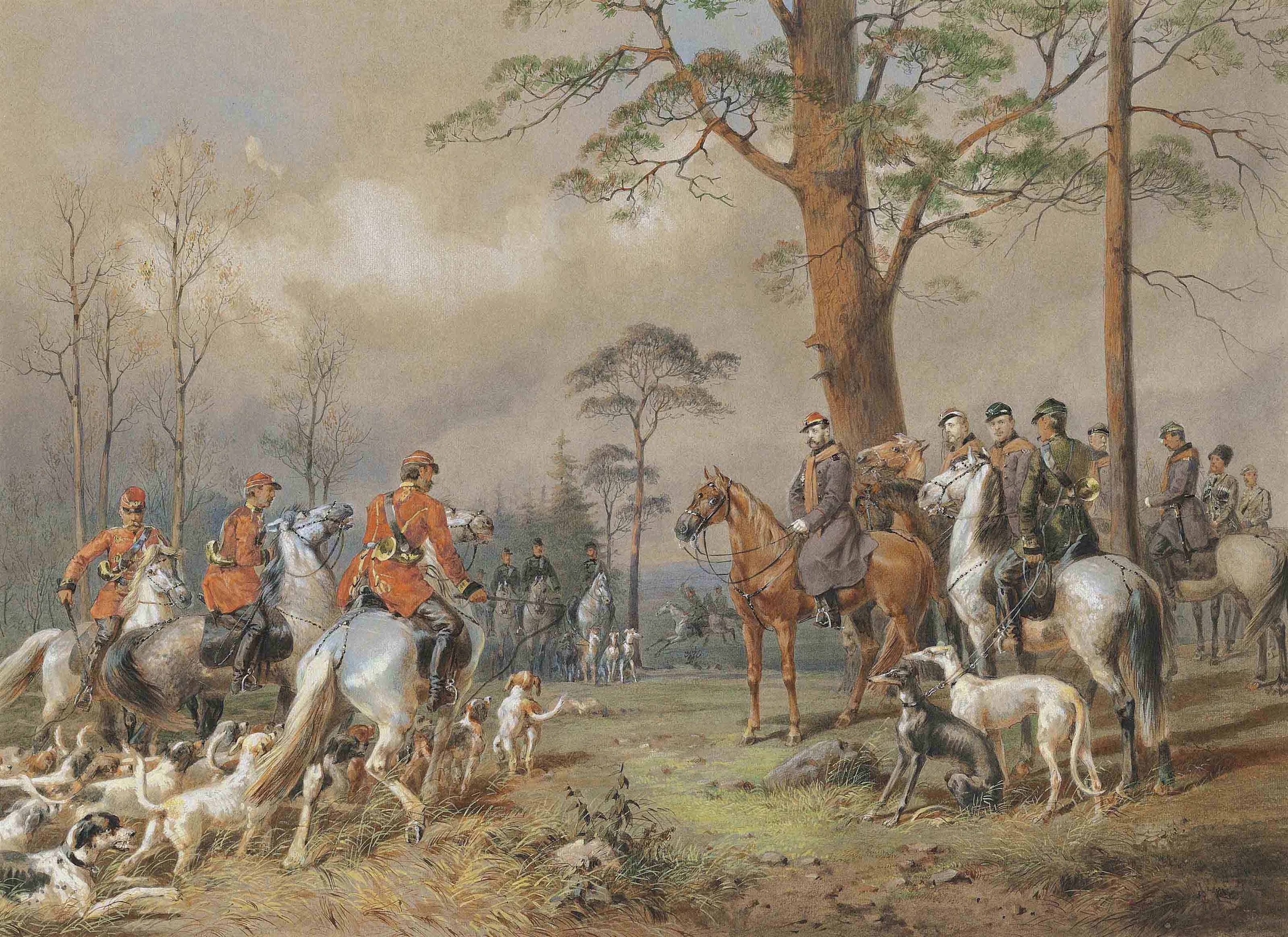 A depiction of an English hunting party.