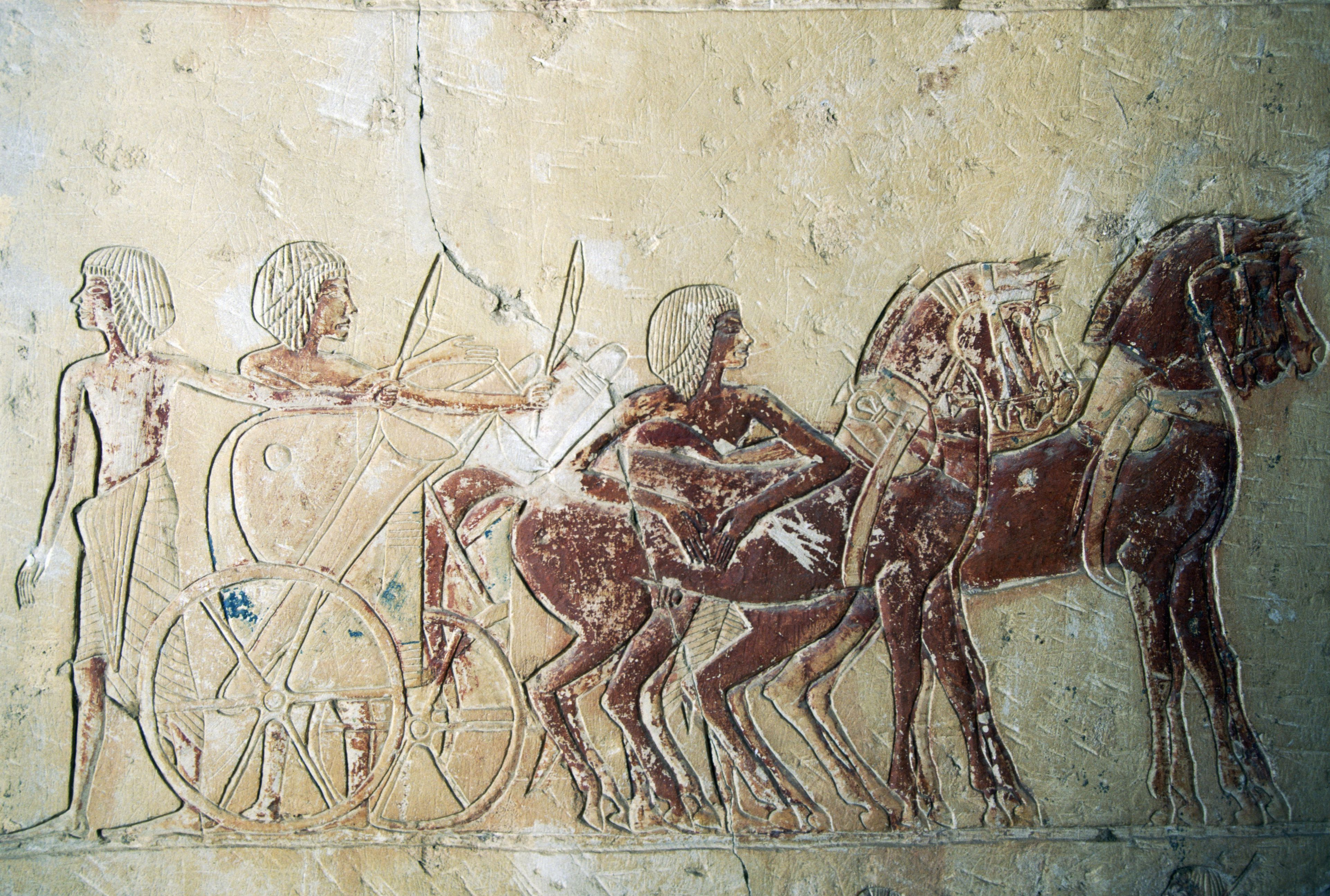 Drawing depicting preparation of chariot, mortuary temple of Ramesses III, Medinet Habu, Thebes