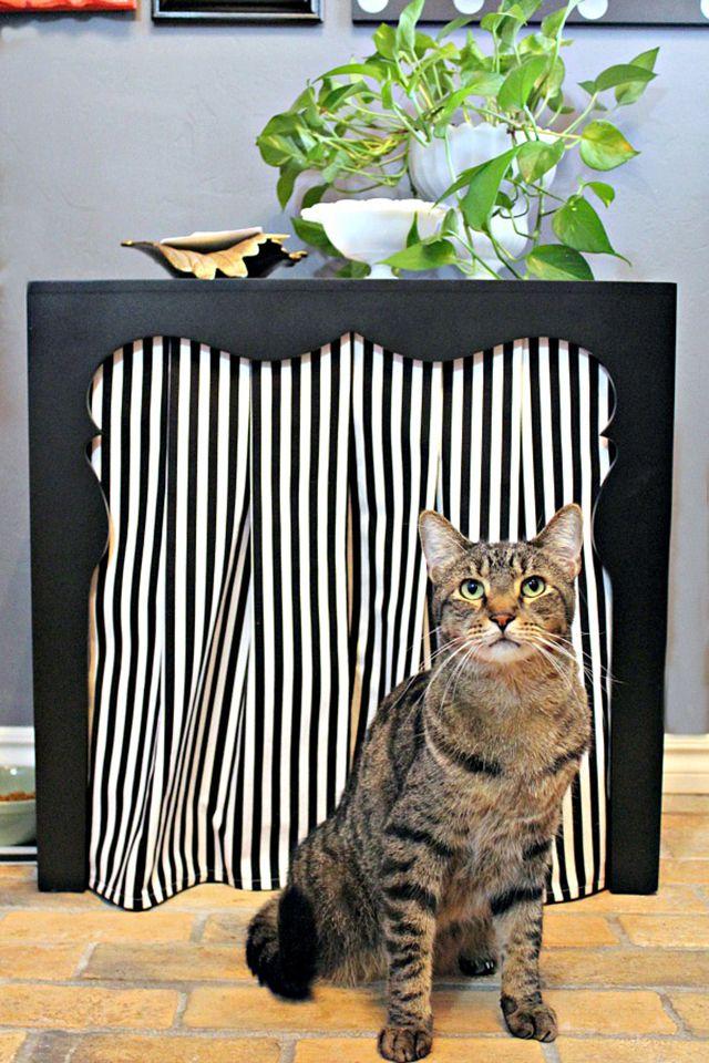 fabric hiding litter box