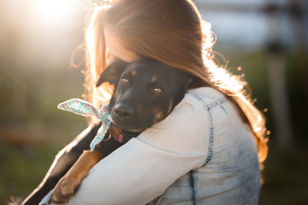 Woman Hugging Rescue Dog