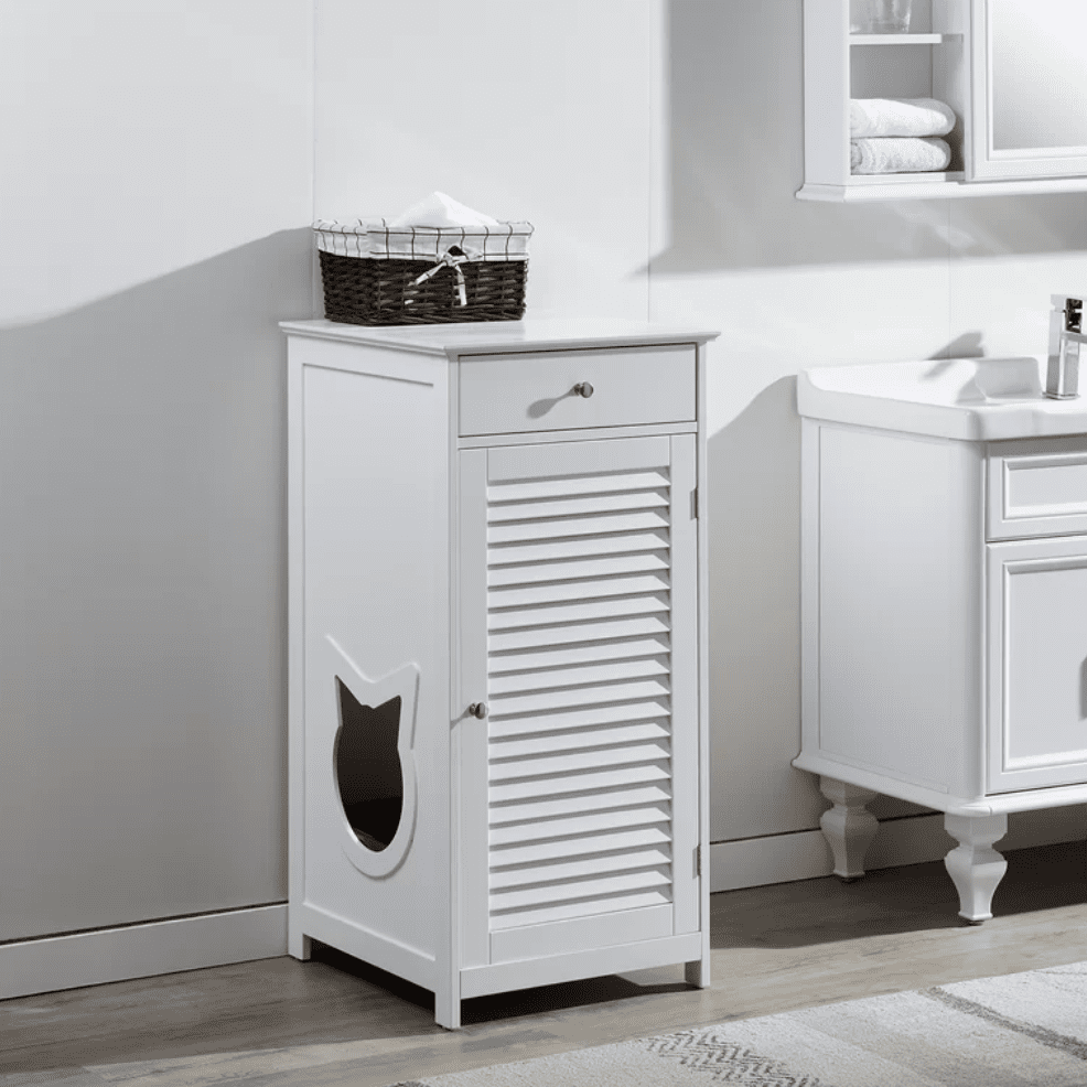 White Plotkin Cat Walk and Pet House Litter Box Enclosure