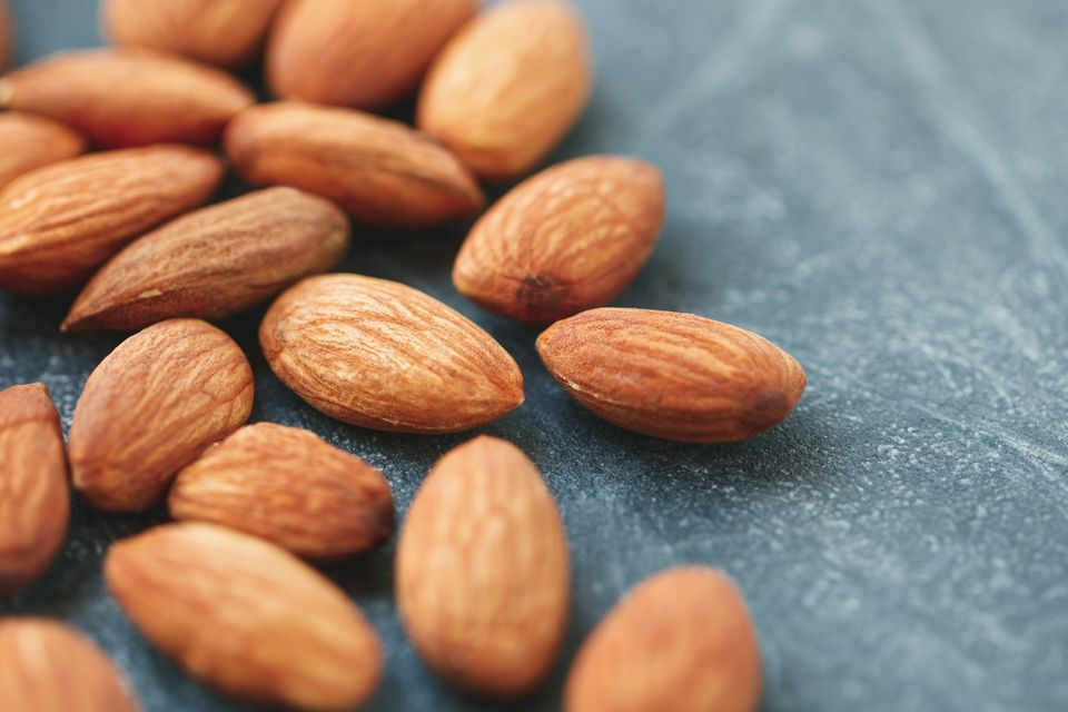 almonds on a hard surface
