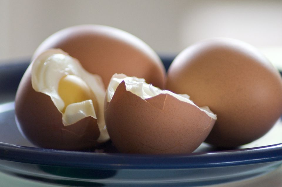 hard-boiled eggs cut in half
