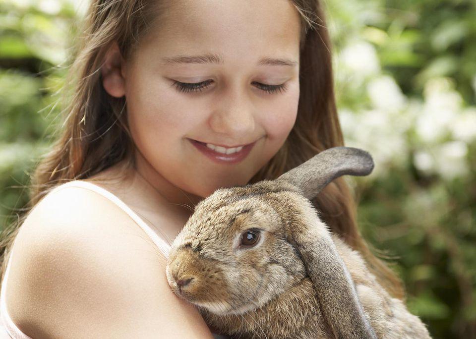 Niña, tenencia, conejo
