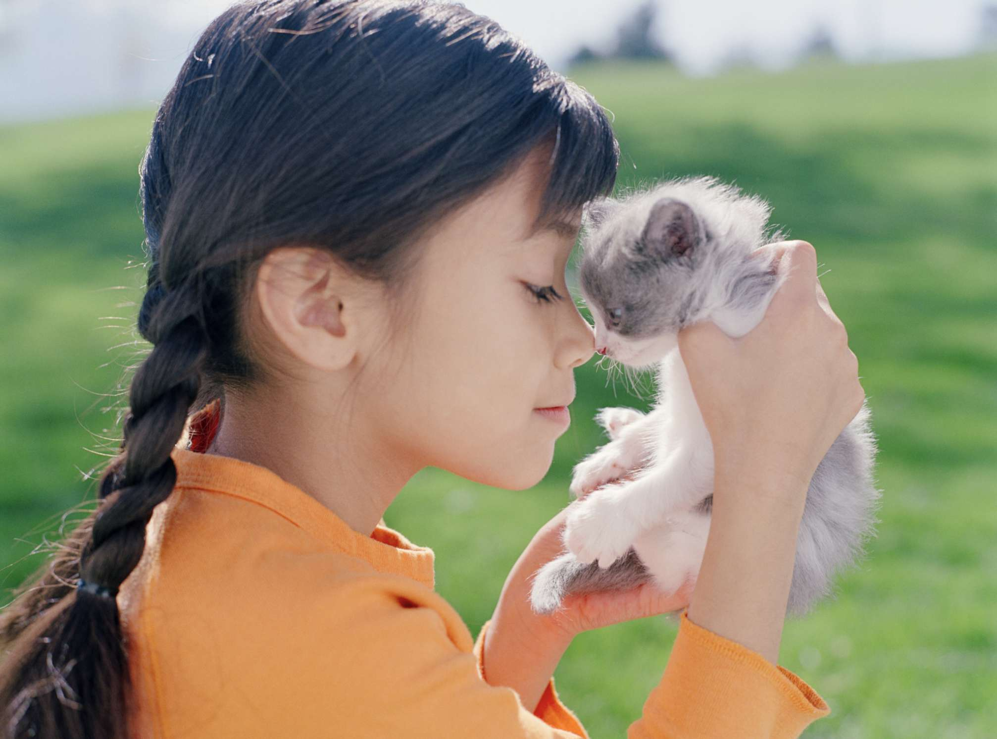 Girl with kitten held up