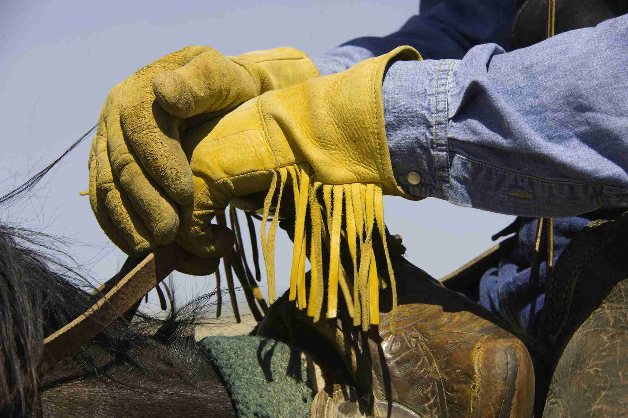 Las manos enguantadas de un vaquero a caballo