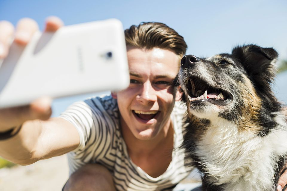 caring for your first dog, dog selfie