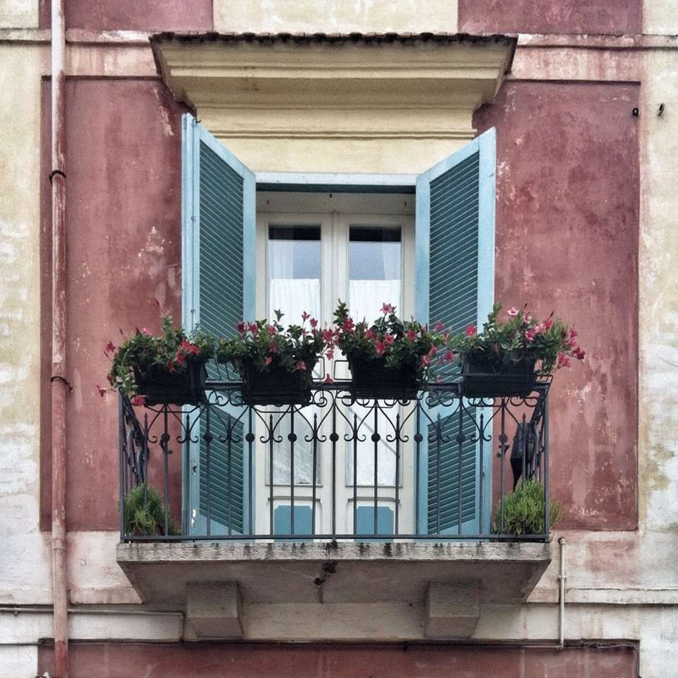Potted Plants On Balcony Of House in Italy