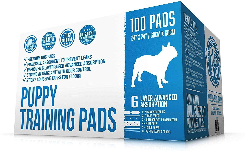 Bulldogology Premium Puppy Pee Pads with Adhesive Sticky Tape